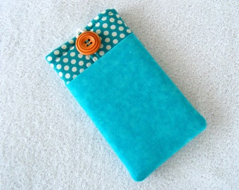 """Turquoise Polka Dots,  IPhone Cover, IPhone Case, Cell Phone Case, Cell Phone Cover, IPhone 6 Cover, IPhone 7 Cover,  6 1/4"""" x 3 1/2"""""""