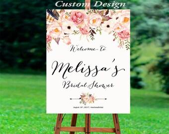 Bridal Shower decoration, Bridal shower invitation, Bridal Shower Welcome Sign, Bridal Shower sign, welcome wedding sign, WSC-8idd