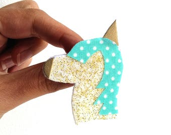 Unicorn gold glitter Turquoise brooch