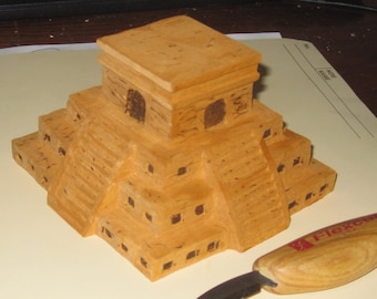 Mexican Mayan Sun Pyramid from Central America hand carved wood.