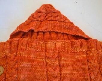 Angel's nest, baby bed, baby, sleeping bag, wool, merino, orange, sleeping bag, hand-knitted