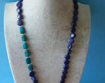 Lapis lazuli necklace,Azurite necklace, Chrysocolla necklace, Sterling silver necklace,Necklaces,Jewelry,Women necklace,Azurire Chrysocolla