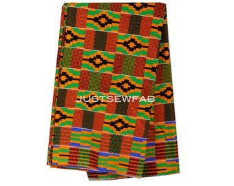Yard Cut // Green Orange Black Traditional African Cotton Print