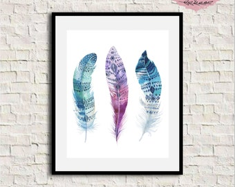 Feathers Wall Art, Feathers Artwork, Bohemian Art Print, Feathers Print, Feathers Printable, Nursery Art, Tribal Wall Art, Tribal Wall Print