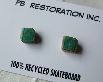 Earring Studs made from recycled skateboard