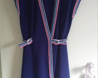 80s vintage homemade navy blue wrap dress