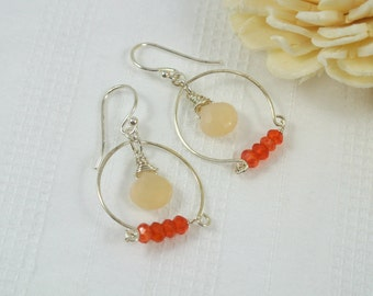 Peach Moonstone & Carnelian Gemstone Hoop Sterling Silver Earrings