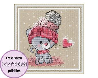A  GRAY CAT / pdf cross stitch pattern / instant download / Valentine's day