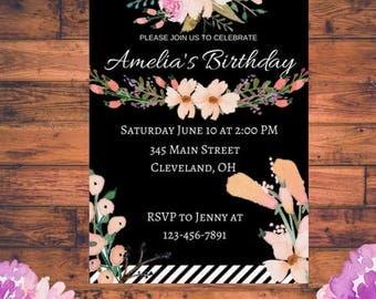 Birthday Invitation - DIGITAL COPY - Floral