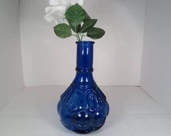 Cobalt Blue Semi-Transparent Decorative Glass Bottle, Vase, Home Decor