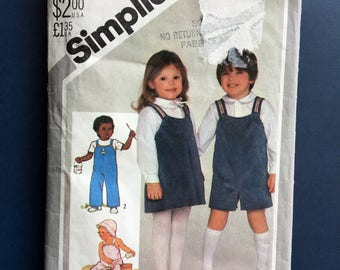 Vintage Children's Sewing Pattern Overalls Jumper Shirt Vintage Simplicity Sewing Pattern Children's Clothing