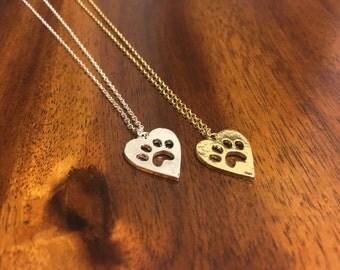 Paw Necklace - Paw Heart Necklace - Dog Paw Necklace - Tiger Paw Necklace - Cat Paw Necklace - Paw - Paws - Paw Jewelry - Paws Jewelery