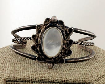 Navajo Sterling Silver Mother of Pearl Cuff Bracelet by DWL