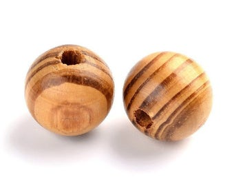 16mm Brown natural pine wood beads round 5/10/15/20 units PB020 lots