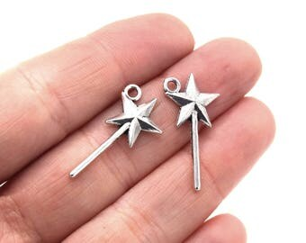 Wands Star Silver aged 25x13mm - Aged silver magic wands 10/20/30/40 units