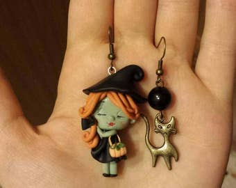Fimo/polymer clay earrings errings witch witch pumpkin halloween