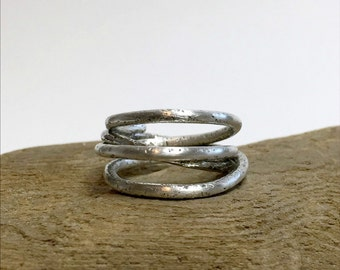 Sterling Silver Wrap Ring, Thick Wrap Around Ring, Heavy Silver Ring, Textured Silver Ring, Chunky Ring