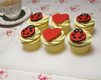 Love Bug Valentines Lady Bird Edible Fondant Cupcake Toppers
