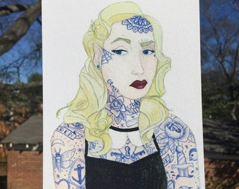 The Tattooed Lady, watercolor portrait, art, print, tattoos, circus, sideshow