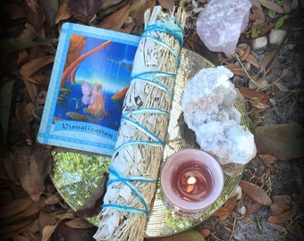 Wild Harvested White Sage and Blue Sage Smudge Stick for Cleansing, Protection from Psychic Attacks & Strength for Making Tough Decisions
