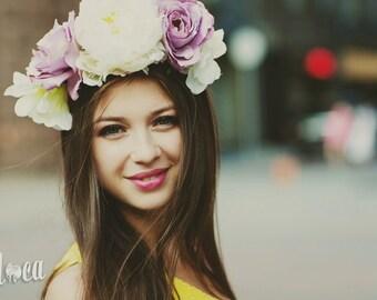 Purple Flower Crown, Purple Wedding Headpiece, Carnival Headdress, Woodland Fantasy Headband, Spring Headband, Birthday Gift for Mother