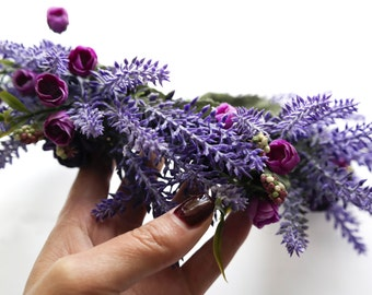 Bridal Floral Crown, Lavender Wedding Flower Crown, Flower Head Wreath, Purple Floral Crown, Forest Wedding Head Wreath