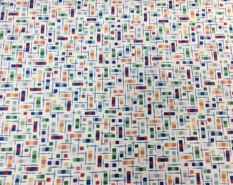 Vintage Abstract Screen Print On White 100% Light Weight Cotton, By John Wolf Decorative Fabrics