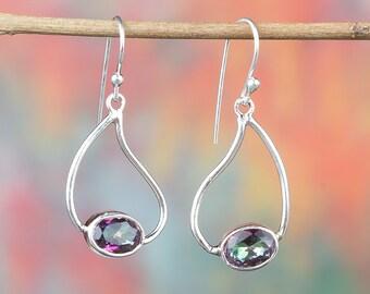 Mystic Topaz Earrings Silver | Mystic Topaz Earrings |  Artisan Jewelry | BJE-324-MT