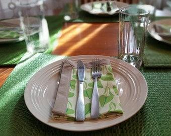 Cloth Napkins Set of 2 Green Leaf