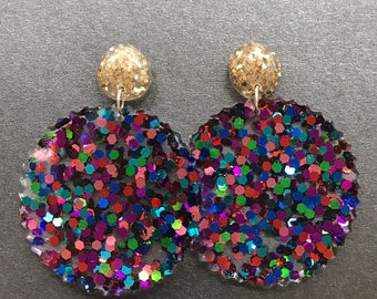 Glitter Resin stud dangle earrings