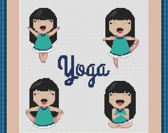 Yoga Pose cross stitch pattern Yoga design cross stitch Yoga lover gift Yoga Pattern Design pattern Yoga pose cross stitch girl Pattern