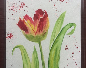 Tulip Greeting Card, Hand Painted and Original
