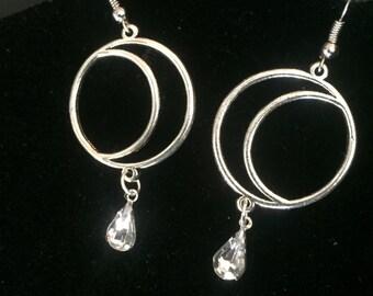 Crescent Moon Hoop Earrings, Crescent Moon Earrings, Silver Moon Hoop Earrings, Dangly Crescent Moon Earrings