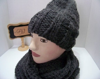 Scarf and Tuque for men (dark grey) #316