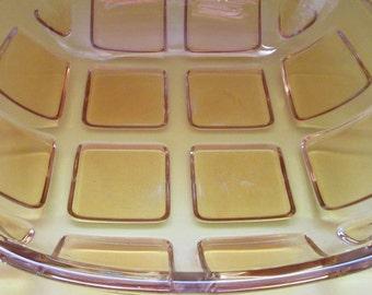 Retro Modernist Gift. Modernist Bowl. Mid Century Bowl. Retro Glass Bowl.  Retro Yellow Squares Bowl. Serving Dish. Fruit Bowl. Free P&P.