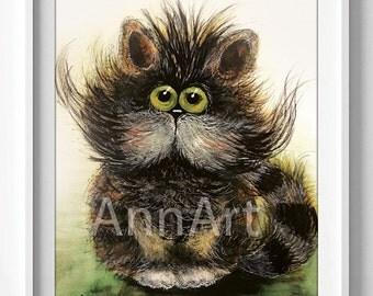 watercolor/printable/instant digital download/original/painting/children room/digital /CUTE CAT/wall decor/print/kids/pets/vintage/KITTEN