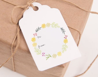 Gift Tags, Printable Tags, Modern Flower Wreath, Printable Gift Tags, Gift Tags Printable, Printables, Tags, Gift, Labels, Paper, Party, Tag