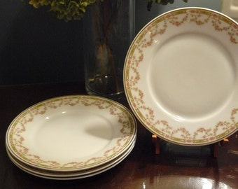 Set of 4 Bread Plates Rose Garland  made by Victoria Austria
