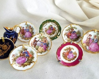 Limoges Miniatures – Eight Tiny Plates – One Small Pitcher – c. 1960