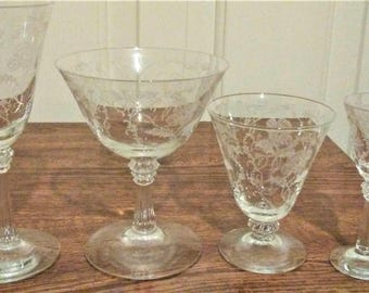 Beautiful Set of 16 Crystal Glasses With Flowers and Vines Etched on Crystal
