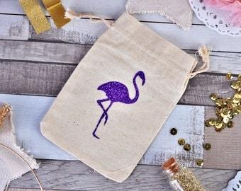 Flamingo Favor bags - Flamingo Thank you bags - Bridesmaid gift bags - Party favor bags