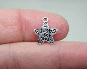 "52 ""Just for you"" Silver Tone Star Charms. B-003"