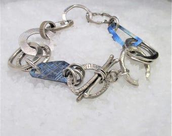 rustic man bracelet, oxidized silver, titanium blue.