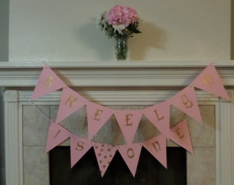 First Birthday Pink and Gold Personalized Banner