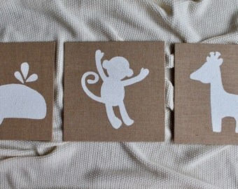 Set of Three Burlap Boards | Animal Silhouettes | Whale Art | Monkey Art | Giraffe Art | Nursery Art | Nursery Decor