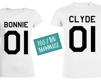 Bonnie & Clyde partner fun T-Shirts, 100% organic cotton, black white o.