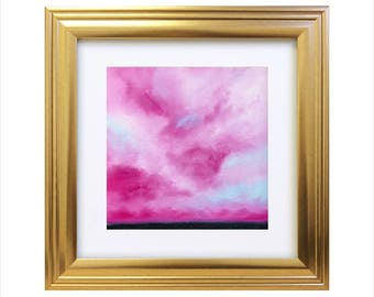 "Pink Storms I, Original, Oil Painting on canvas Board, (9""x9"")"