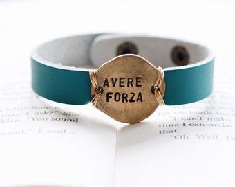 Italian Cuff Bracelet, Inspirational Bracelet, Stamped Bracelet, Custom Jewelry, Gift for Mom, Italian Gift, Gift for Mom, Coin Jewelry