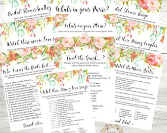 Bridal Shower Game MEGA Pack - Bridal Shower Printables 10 Games, Shabby Chic Rose Theme, Instant Download