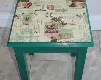 Side Table Shabby Chic Distressed and Decoupaged using Oriental Style Decorative Paper and Painted in Annie Sloan's  Florence Green
